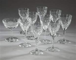 (10) St. Louis Crystal stem glasses, Bristol pattern