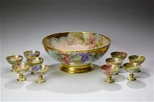 Tressemanes and Vogt Limoges porcelain punch set