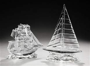 (2) Waterford crystal nautical sculptures, marked