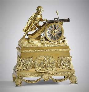 19th c. French gilt bronze Napoleon mantel clock