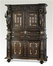Mid 19th c. French walnut and mother of pearl cabinet