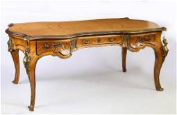 Bronze mounted satinwood bureau plat w/ leather top
