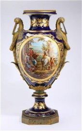 """19th c. Sevres bronze mounted porcelain urn, 32""""h"""