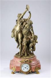 19th c. French bronze figural clock, marked Clodion