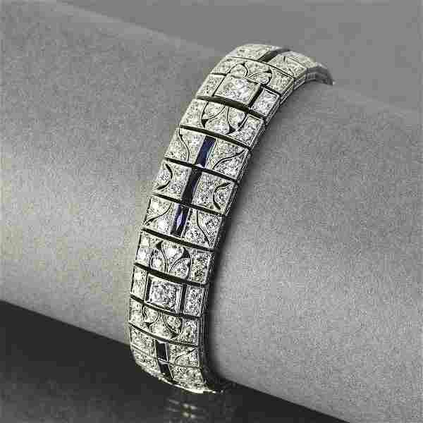 Period Art Deco diamond, sapphire, platinum bracelet