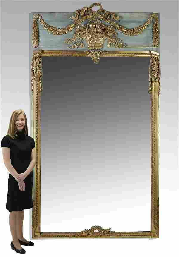 """Monumental French gilt-decorated mirror, 118""""h"""
