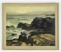 American School O/b rocky seascape, signed
