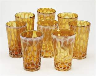 Set of (8) contemporary art glass water glasses
