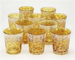 Set of (10) contemporary art glass juice glasses