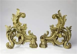 (2) 19th c. gilt bronze Rococo style chenets