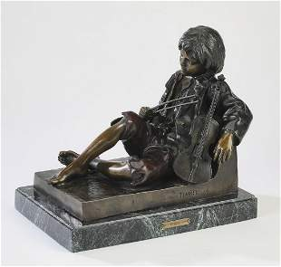 Leon Tharel (French) signed bronze, 19th c.