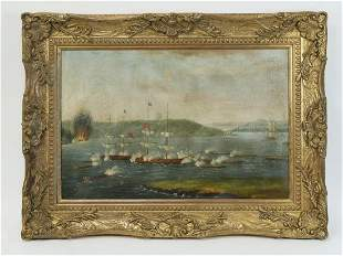 Chinese O/c trade painting, the Battle of Whampoa
