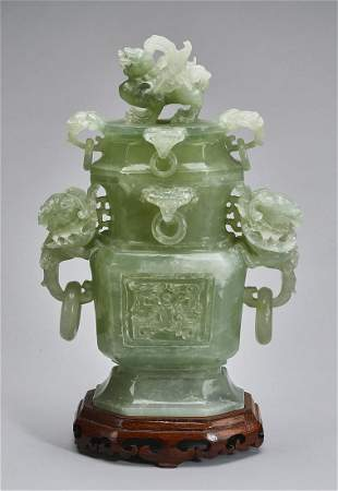 """Chinese carved celadon jade covered urn, 14""""h"""