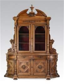 Monumental 19th c. French walnut buffet