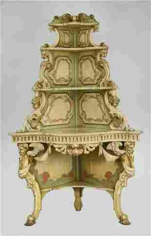Venetian style paint-decorated corner etagere