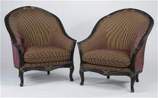 Pair of Empire style striped tub chairs