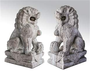 "(2) Chinese carved marble Fu lions, 39""h"