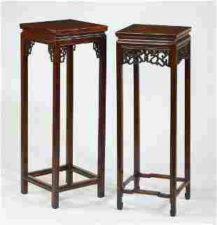 (2) Chinese carved hardwood pedestals