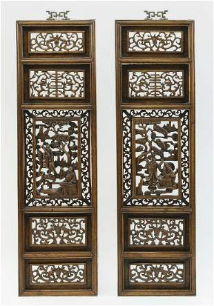 (2) Chinese carved hardwood panels w/ scholars