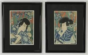 (2) 19th c. woodblock prints by Toyohara Kunichika