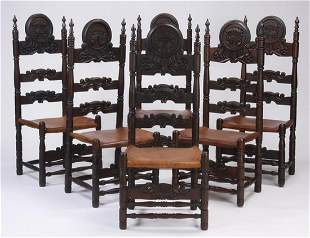 (6) Spanish Colonial style carved chairs w/ leather