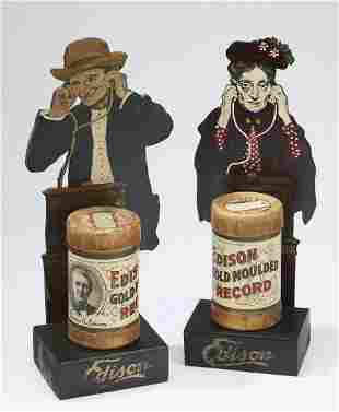 (2) Edison Gold Moulded Record box displays