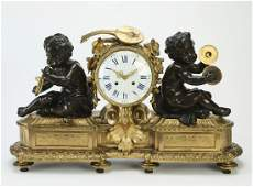 19th c. French bronze mantel clock with musical putti