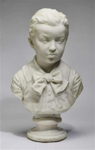 19th c. Continental carved marble bust of young boy