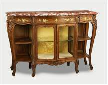 19th c French carved walnut marble top buffet