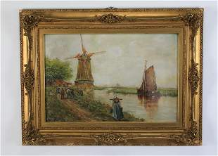 Early 20th c. Dutch O/c windmill & sailboat, signed