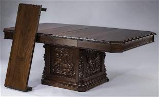 19th c. carved Italian pedestal table w/ 3 leaves