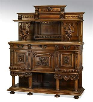 19th c. French walnut and marble sideboard