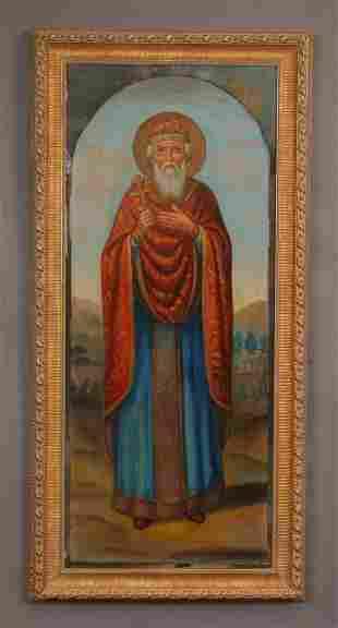 "Oversized early 20th c. O/c icon, St. Vladimir, 68""h"