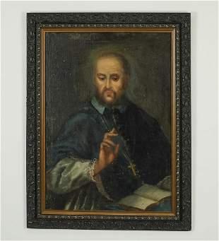19th c. O/c on board portrait of St. Francis de Sales