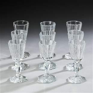 """(9) Fluted crystal dram glasses, 3.75""""h"""