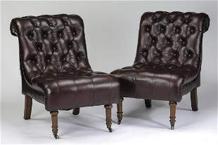 (2) Ralph Lauren style button-tufted leather chairs