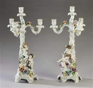 (2) Von Schierholz porcelain 4-light candelabra