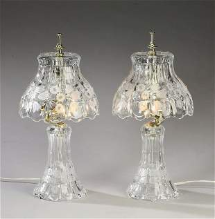 (2) Clear etched glass electrified boudoir lamps