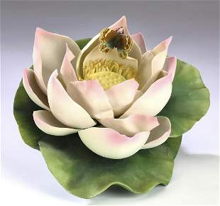 Boehm porcelain 'Pink Lotus with Butterfly'