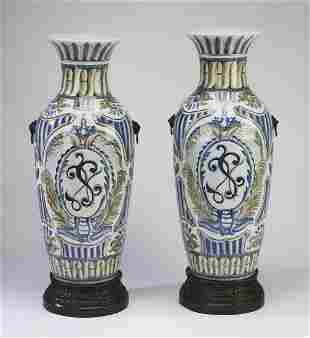 """(2) Maitland-Smith hand-painted urns, 26""""h"""