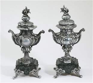 (2) French Rococo Revival style covered urns