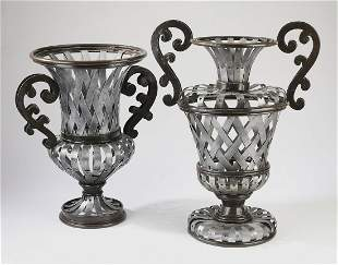 (2) Large contemporary Greek inspired metal vases