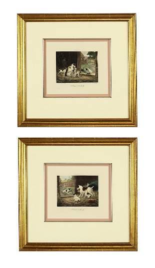 (2) 19th c. mezzotints of Jack Russell terriers