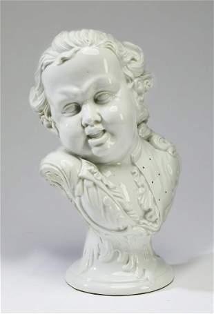 Blanc de chine porcelain bust of a child