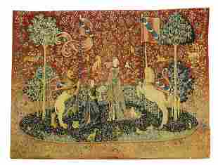 French silkscreen unicorn and lion tapestry