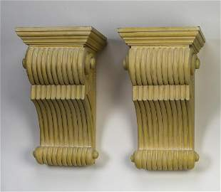 "Pair of cerused mahogany Art Deco corbels, 23""h"