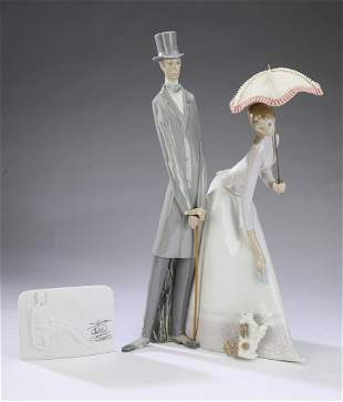 """Lladro retired porcelain 'Couple with Parasol', 20""""h"""