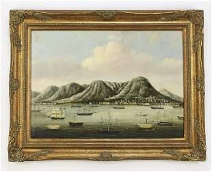 Chinese trade painting of Hong Kong harbor