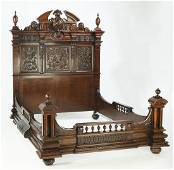 19th c. Continental carved walnut queen size bed