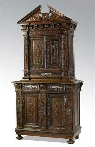 Early 19th c. French oak cabinet w/ marble accents